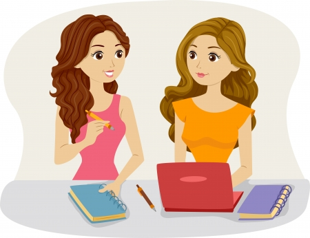 girl laptop: Illustration of Female Roommates Studying Together