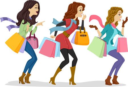 Illustratie van meisjes met boodschappentassen geconfronteerd met de rechterkant van de tekening
