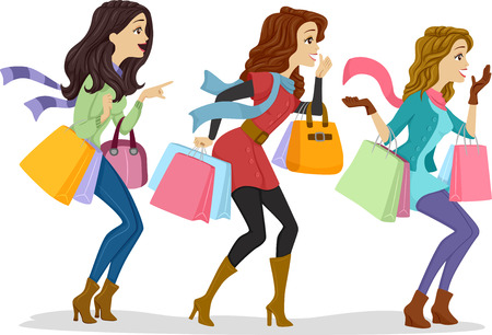 preadult: Illustration of Girls Carrying Shopping Bags Facing the Right Side of the Drawing