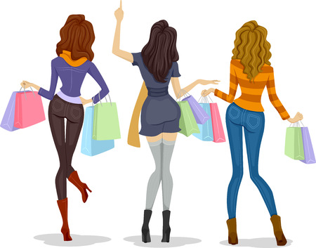 back view: Back View Illustration of Female Shoppers Carrying Shopping Bags