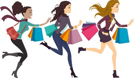 Illustratie van meisjes met boodschappentassen lopen aan de rechterkant van de tekening