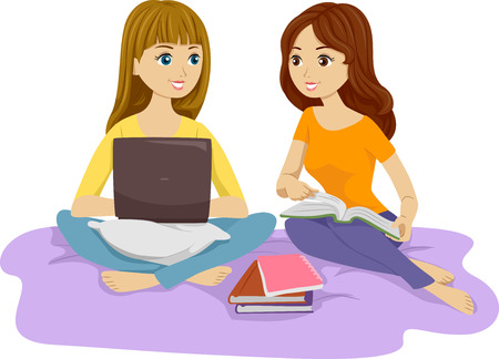 girl laptop: Illustration of Two Females Studying in Bed Together Stock Photo
