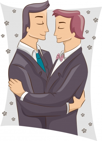 Illustration of a Pair of Male Same Sex Couple Embracing Each Other After Being Married Stock Illustration - 22817739