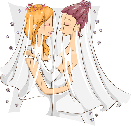 Illustration of a Pair of Female Same Sex Couple Embracing Each Other After Being Married Stock Illustration - 22817740