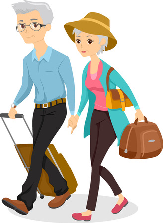 Illustration of an Elderly Couple Traveling Together with Luggage in Tow Stock Illustration - 22817741