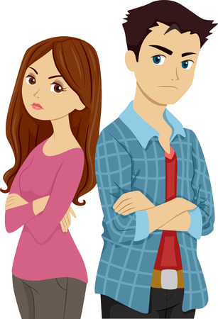 lovers quarrel: Illustration of a Teenage Couple Having a Lovers Quarrel Stock Photo
