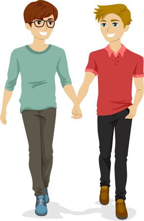 hombres gays: Ilustración de una pareja gay adolescente la mano mientras caminaba