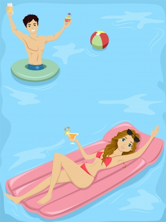 Illustration of a Teenage Couple Having a Pool Party illustration