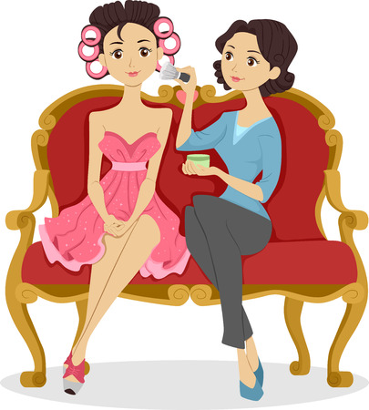 curlers: Illustration of a Woman Applying Makeup on a Girl with Hair All Rolled Up with Curlers