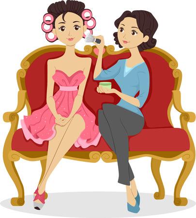 rulos: Ilustraci�n de una mujer que aplica maquillaje en una muchacha con el pelo todo Rollo con rulos