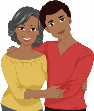 Illustration of an Elderly African-American Mom Posing for the Camera with Her Young Son Stock Illustration - 22817750