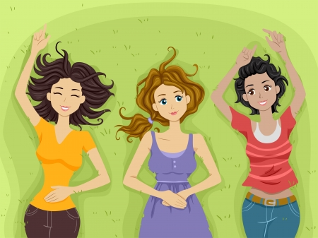 preadult: Illustration of Teenage Girls Contentedly Lying on a Stretch of Grass