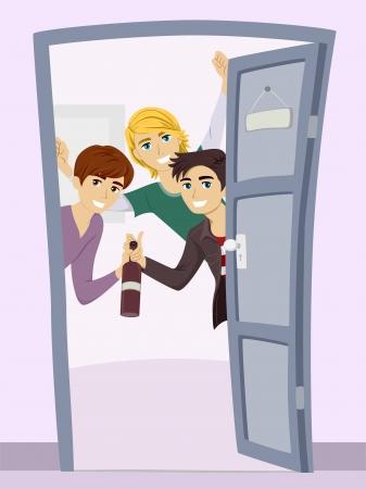 welcome party: Ilustraci�n de un grupo de adolescentes Ni�os Tener una Fiesta de Bienvenida