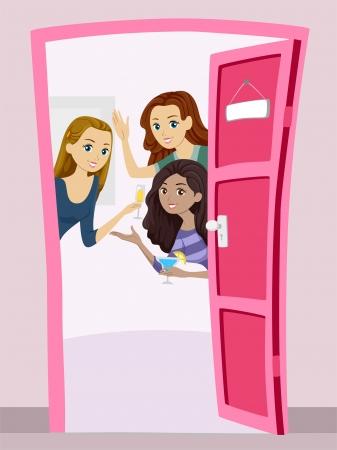 Illustratie van een groep tienermeisjes met een welkomstfeest