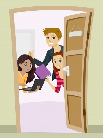 girl laptop: Illustration of Teenagers Carrying Studying Materials Peeking from Behind a Partially Opened Door
