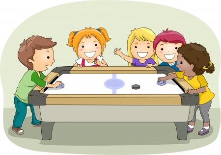 playmates: Ilustración de un grupo de niños jugando Air Hockey
