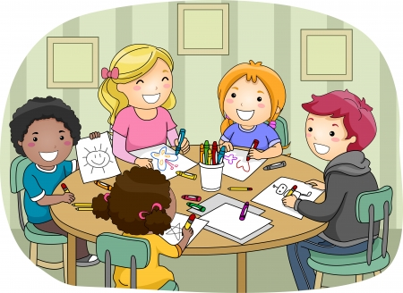 girl bonding: Illustration of a Group of Kids of Different Ages Making Drawings Together
