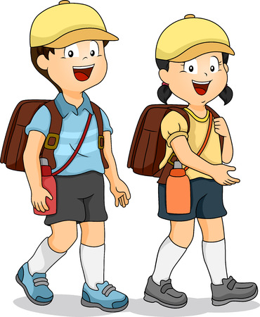 school girl uniform: Illustration of Asian Students Walking on the Student Sidewalk Stock Photo
