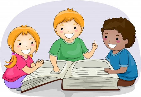 passages: Illustration of Kids Reading Passages from a Large Book Stock Photo