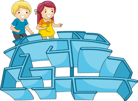 Illustration of a Pair of Kids Entering a Maze illustration