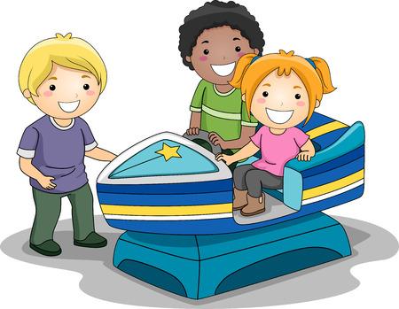playmates: Ilustración de los niños que monta un juguete a motor