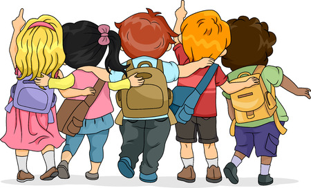 cartoon school girl: Back View Illustration of a Group of Kids Looking Upwards