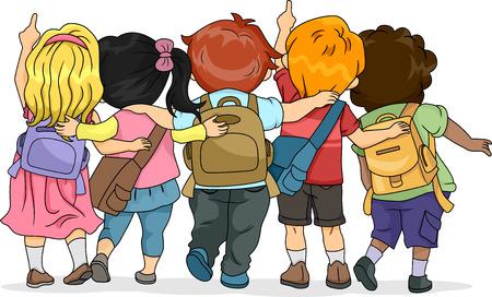 escuela caricatura: Vista trasera Ilustración de un grupo de niños que mira hacia arriba