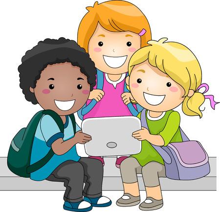 escuela caricatura: Ilustración de un grupo de niños Comprobar un Tablet PC Juntos