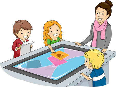 young teacher: Illustration of a Teacher Watching Over Kids Using an Interactive Surface Table Stock Photo