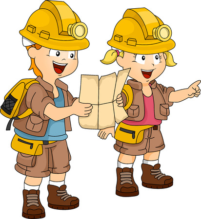 siblings: Illustration of a Pair of Siblings Dressed in Camping Gear Following a Map Stock Photo