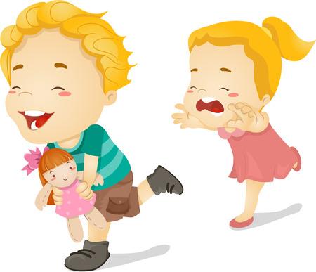 arracher: Illustration d'une petite fille Chasing son fr�re a�n� qui s'est enfui avec sa poup�e