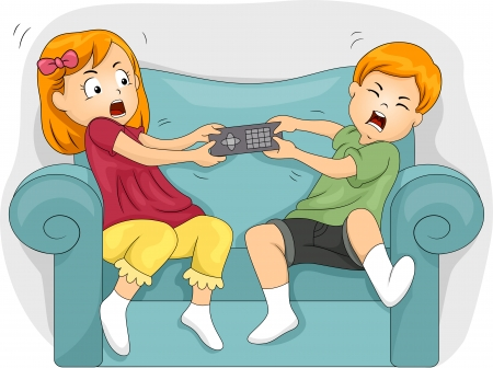 sibling: Illustration of Sibling Fighting Over the Remote Control