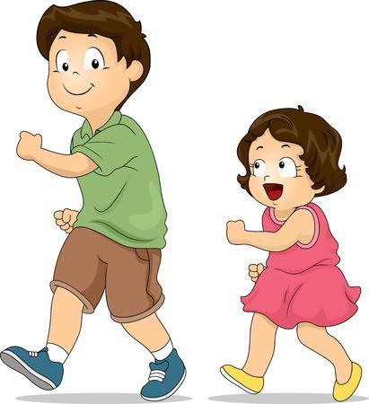 Illustratie van een Meisje van de manier waarop haar oudere broer Walks kopiëren Stockfoto