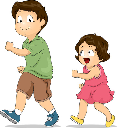 brother and sister cartoon: Illustration of a Little Girl Copying the Way Her Elder Brother Walks