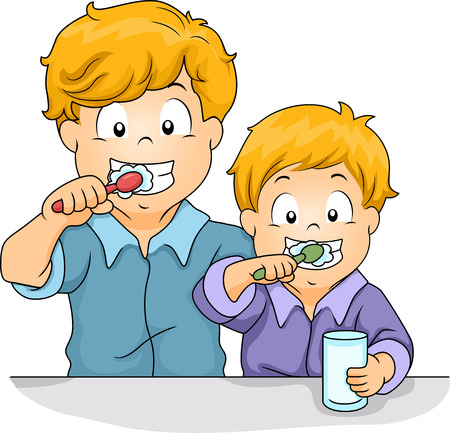 Illustration of Male Siblings Brushing Their Teeth Together illustration