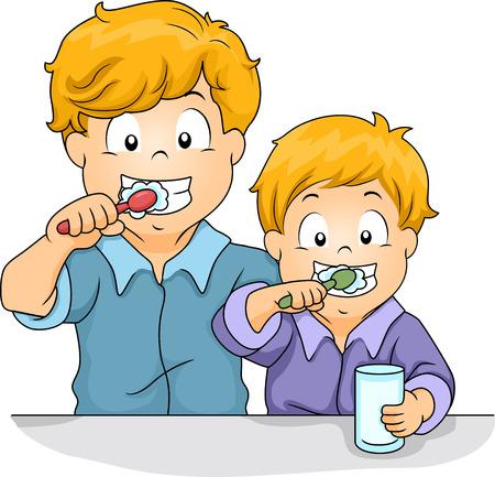 siblings: Illustration of Male Siblings Brushing Their Teeth Together