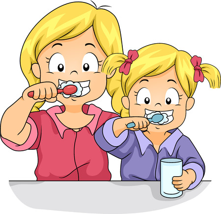 Illustration of Female Siblings Brushing Their Teeth Together Stock Photo