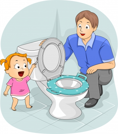 flush toilet: Illustration of a Father Teaching His Young Daughter How to Flush the Toilet