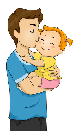 Illustration of a Doting Father Kissing His Baby on the Cheek Stock Photo