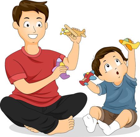 父とおもちゃの飛行機で遊んで彼の若い息子のイラスト 写真素材