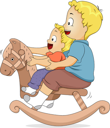 Illustration of Male Siblings Sitting on a Rocking Horse illustration