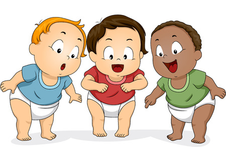 downwards: Illustration of a Group of Baby Boys in Diapers Looking Downwards