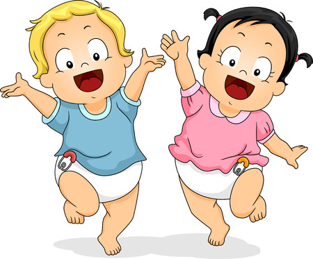 Illustration of Babies in Diapers Happily Dancing Around While Waving Their Hands in the Air Фото со стока
