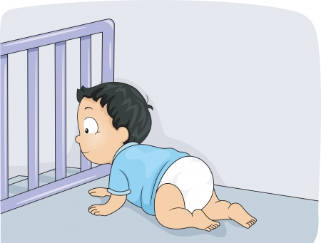 crawl: Illustration of a Baby Boy Being Prevented by a Baby Gate from Falling Down the Stairs Stock Photo