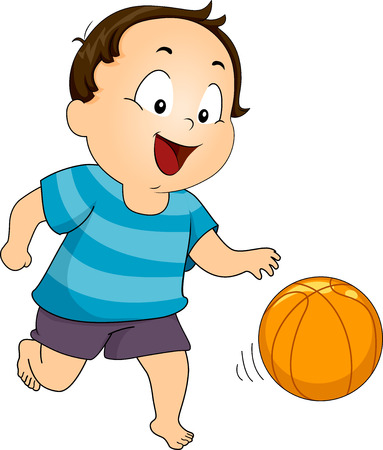 baby playing toy: Illustration of a Young Boy Playing with a Basketball