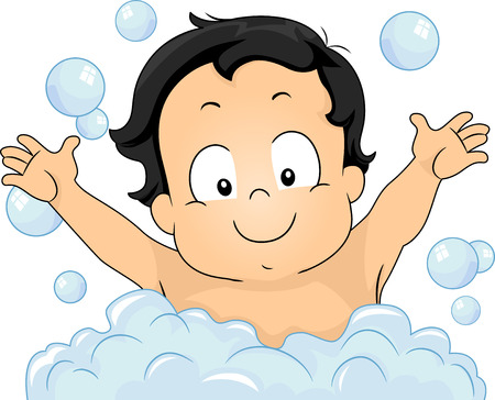 baby bath: Illustration of a Young Boy Happily Taking a Bubble Bath