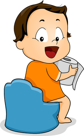 Illustration of a Young Boy Holding a Roll of Toilet Paper While Sitting on a Potty illustration