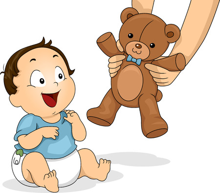 Illustration of a Baby Boy Delighted to be Handed a Teddy Bear illustration