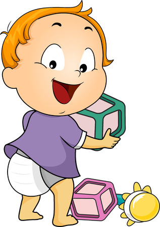 baby toy: Illustration of a Baby Boy Playing with Wooden Blocks and a Rattle Stock Photo
