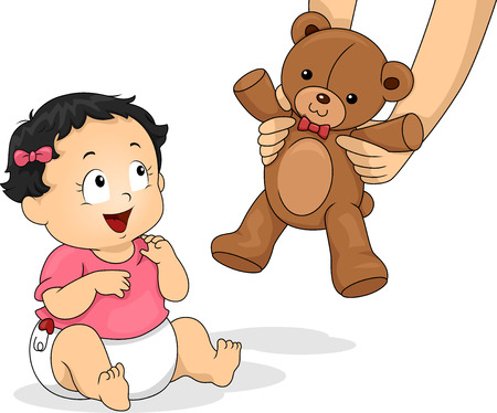 delighted: Illustration of a Baby Girl Delighted to be Handed a Teddy Bear Stock Photo